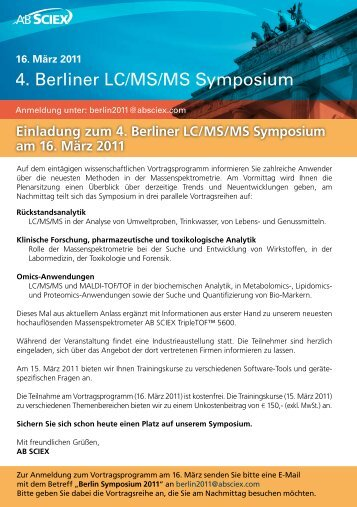 Einladung zum 4. Berliner LC/MS/MS Symposium am 16 ... - AB Sciex