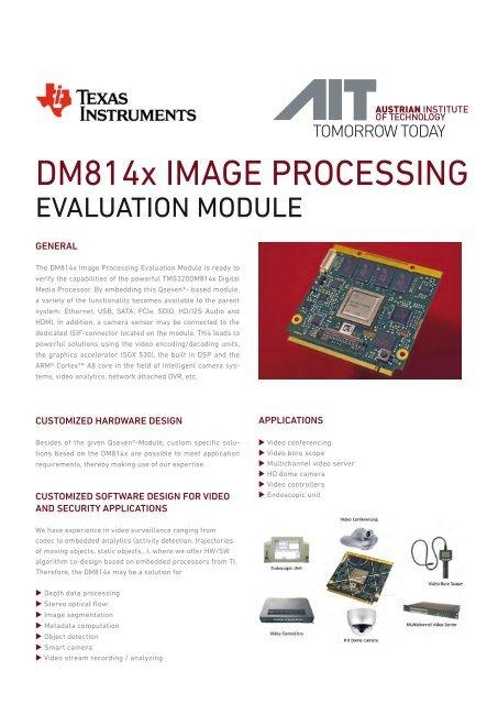 DM814x IMAGE PROCESSING - AIT Austrian Institute of Technology