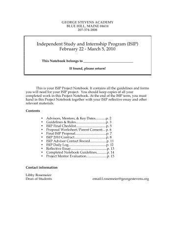 2009-2010 ISIP Notebook - George Stevens Academy