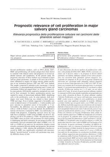 Prognostic relevance of cell proliferation in major salivary gland ...