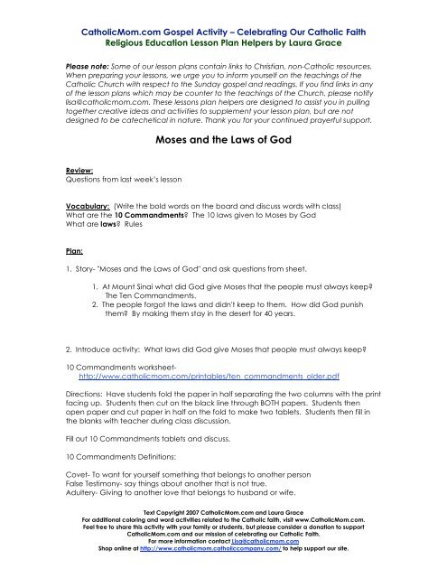 Moses And The Laws Of God Lesson Plan Catholic Mom