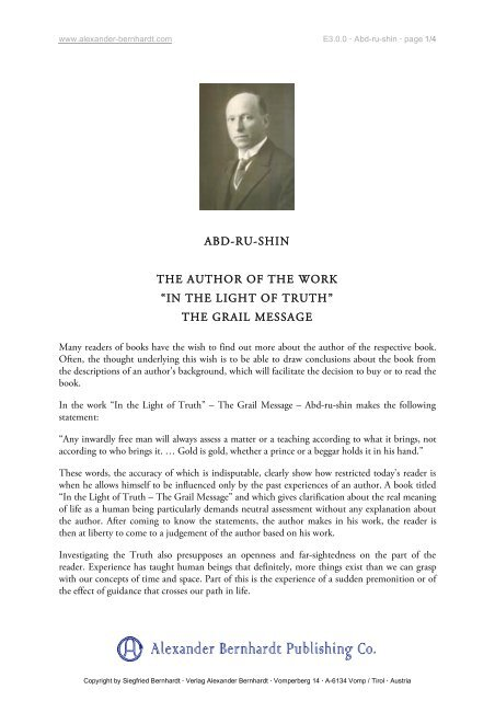 Abd Ru Shin The Author Of Work