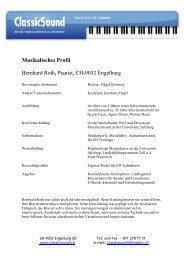 Musikalisches Profil Bernhard Roth, Pianist, CH-9032 Engelburg