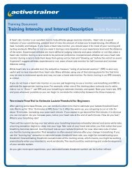Training Intensity and Interval Description by Gale Bernhardt