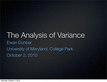 The Analysis of Variance - University of Maryland