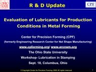 Evaluation of Lubricants for Production Conditions in Metal