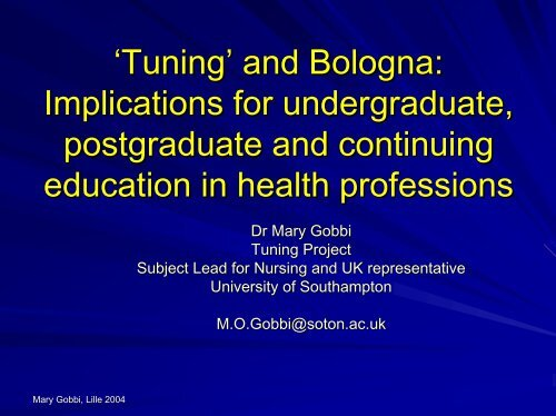 'Tuning' and Bologna: Implications for undergraduate, postgraduate ...