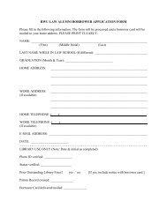RWU LAW ALUMNI BORROWER APPLICATION FORM Please fill in ...
