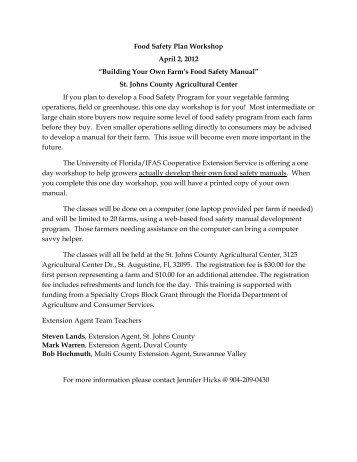 Food Safety Plan Workshop April 2, 2012 - St. Johns County ...