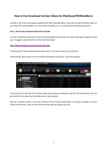 How to Free Download YouTube Videos for iPod/Zune ... - Clone2Go
