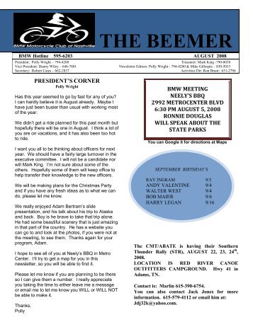 beemer - bmw motorcycle club of nashville - home
