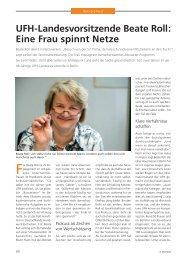 UFH-Landesvorsitzende Beate Roll: Eine Frau spinnt Netze