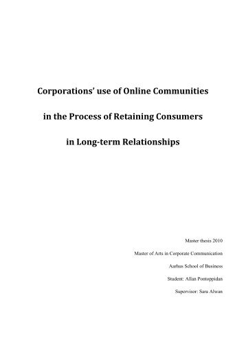 Corporations' use of Online Communities in the Process of - PURE