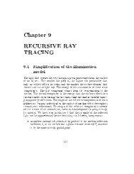 Chapter 9 RECURSIVE RAY TRACING