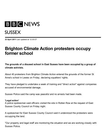 BBC_Brighton Climate Action protesters occupy ... - Climate Access