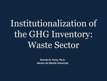 Institutionalization of the GHG inventory: Waste sector [PDF: 258KB]
