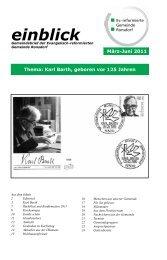 einblick - Kindergottesdienst - Ev. Reformierte Gemeinde Ronsdorf