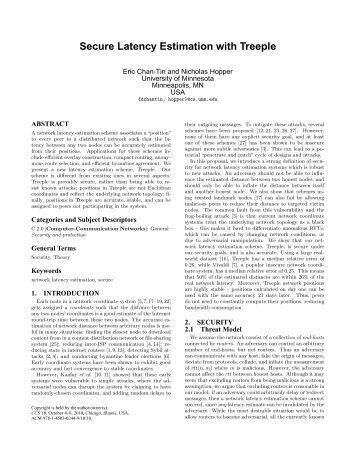 Secure Latency Estimation with Treeple - University of Minnesota