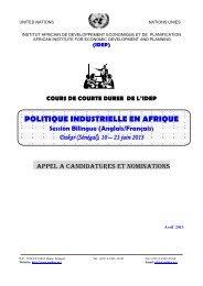 politique industrielle en afrique - Institut Africain de Développement ...