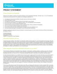 PRIVACY STATEMENT - Comcast Business