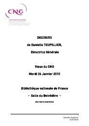 Discours des voeux 2010 du CNG 26 JANVIER