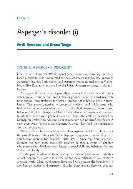 Asperger S Disorder I World Psychiatric Association