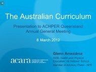 The Australian Curriculum - ACHPER QLD