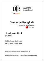 Deutsche Rangliste Junioren U12 - Deutscher Tennis Bund