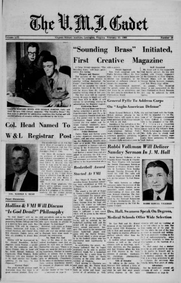 The Cadet. VMI Newspaper. February 25, 1966 - New Page 1 ...