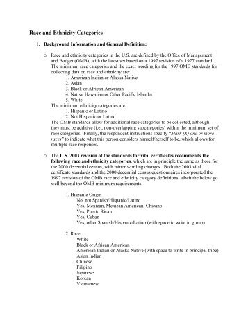 Race and Ethnicity Categories - National Association for Public ...