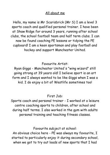 All about me - Shaw Ridge Primary School
