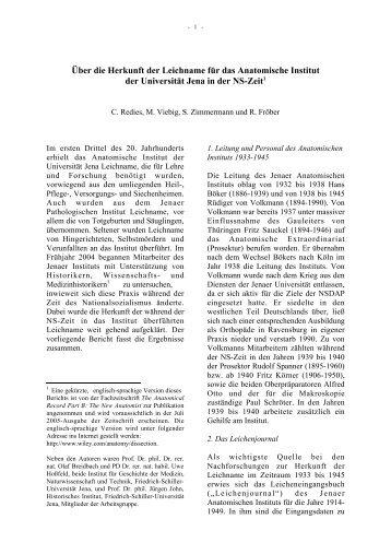 Über die Herkunft der Leichname für das Anatomische Institut der ...