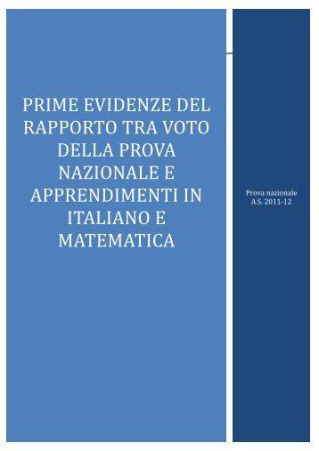 Prime evidenze del rapporto tra voto della Prova Nazionale ... - Invalsi