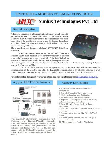 Protocon Data sheet - Modbus to BACnet - Sunlux Technologies Ltd.