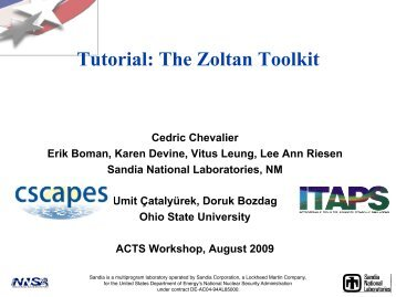 Tutorial: The Zoltan Toolkit - The ACTS Toolkit - NERSC