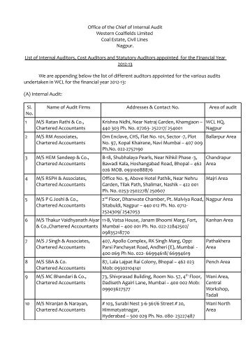 List of Auditors Fy 12-13.pdf - Western Coalfields Limited