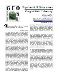 Department of Geosciences Oregon State University Newsletter