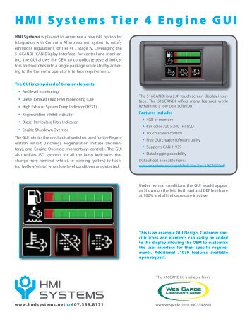HMI Systems Tier 4 Engine GUI - Wes-Garde Components