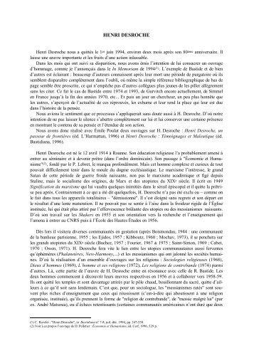 Henri Desroche - Claude RAVELET