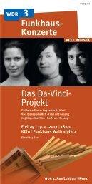 Das Da-Vinci- Projekt Funkhaus- Konzerte - WDR 3