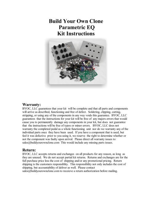 Build Your Own Clone Parametric EQ Kit Instructions Warranty