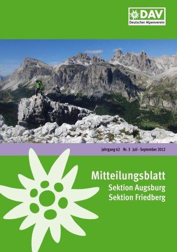 Mitteilungsblatt 2012/3 (PDF, 6,4 MB) - Alpenverein Augsburg