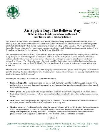 An Apple a Day, The Bellevue Way - Bellevue School District