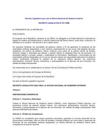 Decreto Legislativo que crea la Oficina Nacional de Gobierno ...