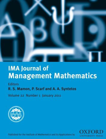 Front Matter (PDF) - IMA Journal of Management Mathematics ...
