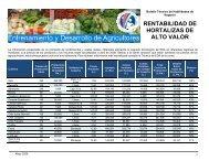 rentabilidad de hortalizas de alto valor - Cuenta del Milenio ...