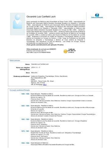 Currículo no formato Lattes (PDF 186Kb) - Osvandré Lech Ortopedia