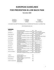 European guidelines for prevention in low back pain - ResearchGate