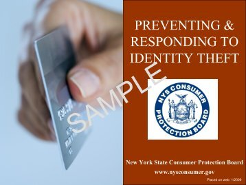 preventing & responding to identity theft - Consumer Protection Home