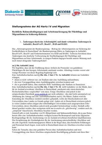 Stellungnahme der AG Hartz IV und Migration ... - Aktion Bleiberecht